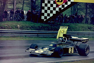 Lotus 72 - Jacky Ickx in a 72E, after taking victory at the 1974 Race of Champions