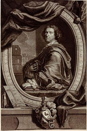 Bonaventura van Overbeek - Portrait of Overbeek portrayed with one of his etchings in his Les restes de l'ancienne Rome in 1709, after a painting by Jacob Christoph Le Blon and engraved by Cornelis Vermeulen.
