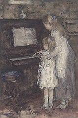 Twee meisjes, dochters van de kunstenaar, bij de piano