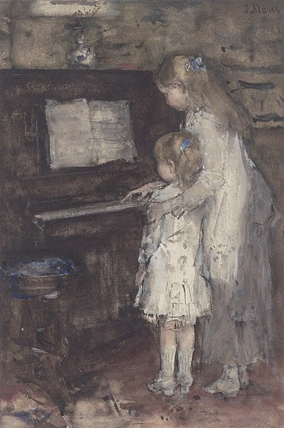 File:Jacob Maris - Twee meisjes, dochters van de kunstenaar, bij de piano.jpg