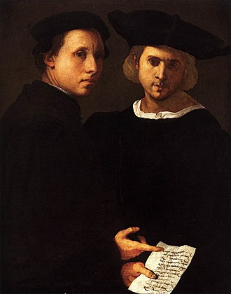 Friendship - Portrait of Two Friends by Italian artist Pontormo, c. 1522