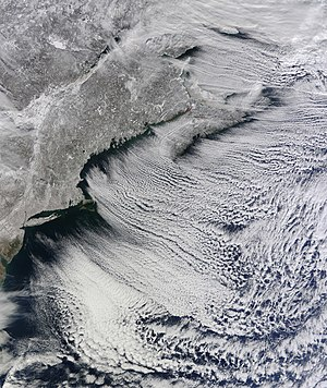 Horizontal convective rolls - Lines of clouds streets stretch from north-west to south-east in this natural-colour satellite view of New England.