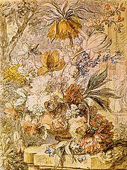 Vase de fleurs et un nid, sur un piédestal de pierre