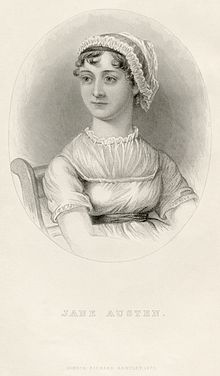 Engraving Austen, showing her seated in a chair. She is wearing a lace cap and an early 19th-century dress.