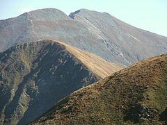 Jarząbczy Wierch, poniżej niego Łopata, z prawej strony zbocza Wołowca
