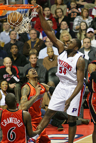 Jason Maxiell - Maxiell slam dunking against the Golden State Warriors