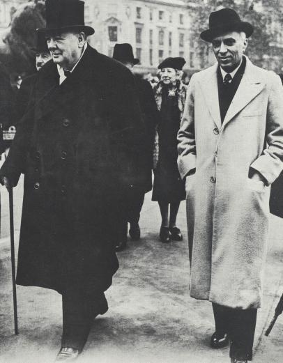 Jawaharlal Nehru with Winston Churchill, London, October 1948