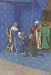 Jean Fouquet - Remise de l'épée de connetable à Bertrand Duguesclin - Enluminure (XVe siècle).jpg