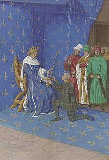 Peinture représentant un homme en noir agenouillé et recevant une épée d'un roi assis sur un trône