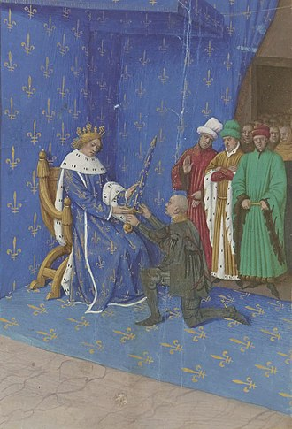 Constable of France - 2 October 1369: Charles V of France presents the sword Joyeuse to the Constable Bertrand du Guesclin, miniature by Jean Fouquet