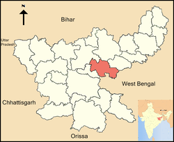 Location of Bokaro district in Jharkhand