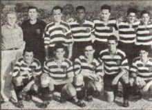 Una formazione della stagione 1938-39, in piedi da sinistra a destra: József Szabó (allenatore), João Azevedo, Rui Araújo, Aníbal Paciência, Joaquim Serrano, Jurado, Manecas, accosciati: Adolfo Mourão, Manuel Soeiro, Fernando Peyroteo, Pedro Pireza e João Cruz