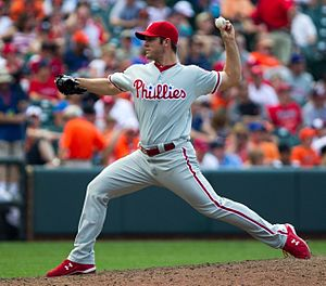 Joe Savery - Savery pitching for the Phillies, 2012