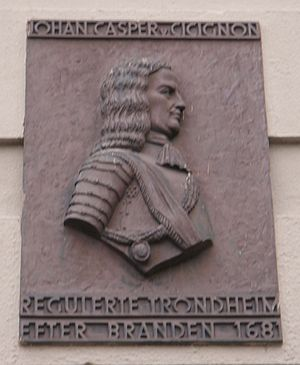 Johan Caspar von Cicignon - Commemorative plaque to Cicignon on the wall of Trondheim Town Hall.