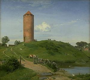 Vordingborg Castle - Gåsetårnet i Vordingborg Johan Thomas Lundbye (1842)