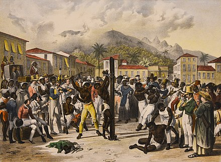 Public flogging of a slave in 19th-century Brazil, by Johann Moritz Rugendas Johann Moritz Rugendas in Brazil.jpg