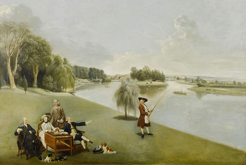 Five well-dressed people taking tea on the lawn beside a lake while another is fishing