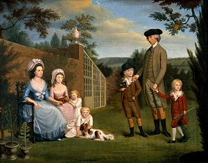 John Coakley Lettsom - John Coakley Lettsom (1744-1 Nov 1815), physician, with his family in the garden of his house in Grove Hill, Camberwell, Surrey. Oil painting by an unknown English artist, ca.1786. Wellcome Library