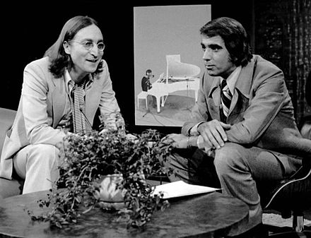 Publicity photo of Lennon and host Tom Snyder from the television programme Tomorrow. Aired in 1975, this was the last television interview Lennon gave before his death in 1980. John Lennon last television interview Tomorrow show 1975.JPG