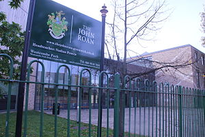John Roan School - John Roan School sign and school, Westcombe Park Road (2015)