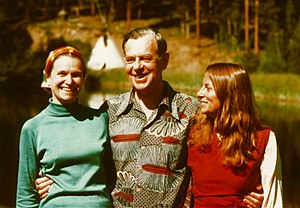 Jean Erdman - Left to right: Jean, Joseph Campbell and Joan Halifax, at Feathered Pipe Ranch, Montana, late 1970s