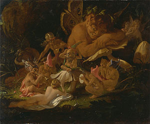 Puck (mythology) - Joseph Noel Paton, Puck and Fairies, detail from A Midsummer Night's Dream.