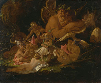 Puck (folklore) - Joseph Noel Paton, Puck and Fairies, detail from A Midsummer Night's Dream.