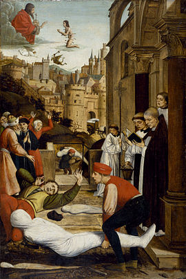 20 Janvier : Saint Sébastien 270px-Josse_Lieferinxe_-_Saint_Sebastian_Interceding_for_the_Plague_Stricken_-_Walters_371995