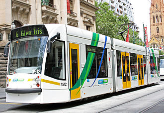 Melbourne tram route 6 - D1 class tram outside Melbourne Town Hall in December 2009