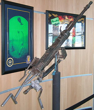 KPV heavy machine gun - Rear view of a captured KPV machine-gun crudely modified for use as an anti-aircraft weapon on display at the headquarters of the 2-135 General Support Aviation Battalion at Buckley AFB, CO. It is missing its feed tray cover and entire upper receiver.