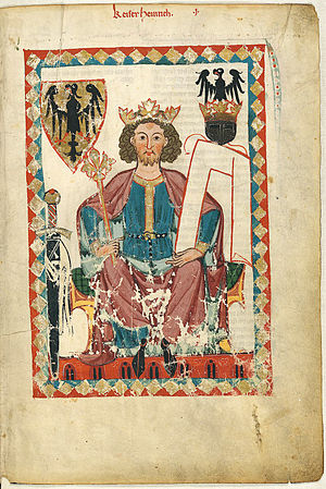 Dominium mundi -  Portrait of Henry VI from the Codex Manesse (folio 6r, ca. 1300)