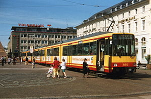 Alb Valley Railway - Alb Valley Railway train in Karlsruhe Marktplatz (1994)