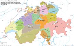 Carte de la République helvétique; le canton de Waldstätten est visible en orange au centre de la carte.