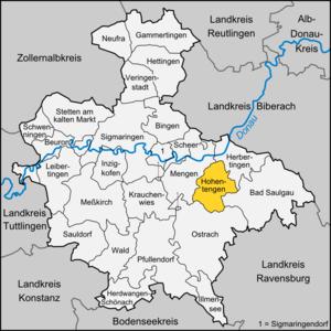 Hohentengen - Image: Karte Hohentengen (Oberschwaben)