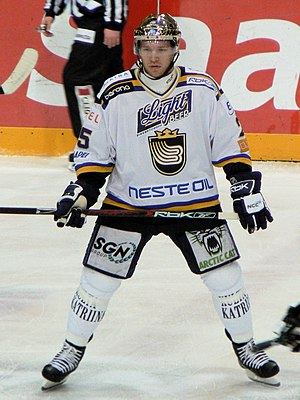 Ryan Keller - Keller playing for Espoo Blues in Finland, in February 2008