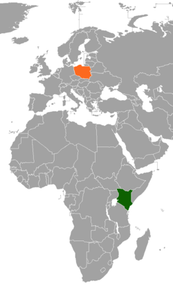 Map indicating locations of Kenya and Poland