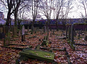 Key Hill Cemetery - Key Hill Cemetery in the Autumn. The Jewellery Quarter station of the Midland Metro is behind the wall