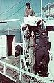 Kikötő a Száva-parton a Besszarábiából menekített német nemzetiségűek átmeneti táborba érkezésekor. Fortepan 84037.jpg