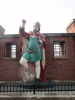 King Gambrinus is a famous statue located in the Brewery District