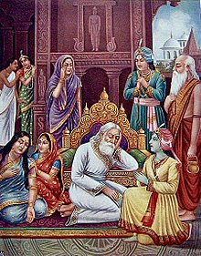 King Dasharatha grieves inconsolably at his obligation to banish Rama to the forest.jpg