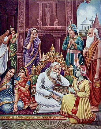 Dasharatha - Image: King Dasharatha grieves inconsolably at his obligation to banish Rama to the forest