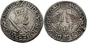 John, Elector of Saxony - Guldengroschen of Saxony, c. 1508-1525. The obverse shows Johann's older brother, Frederick, while on the reverse, Johann is portrayed face to face with George, Duke of Saxony.