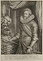 Kniestukportret van Frederik Hendrik, prins van Oranje-Nassau, gekleed in een harnas, staand naast tafel waarop een gepluimde helm en handschoen. Achter hem een draperie. NL-HlmNHA 1477 53010820.JPG