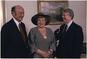 Ed Koch - Koch meets President Jimmy Carter for the first time as the Mayor of New York, along with his long-time ally and former opponent in his mayoral bid, Congresswoman Bella Abzug (February 1978).