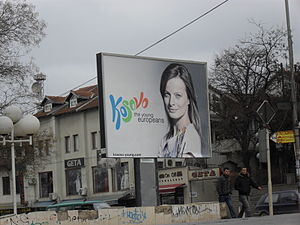 "2008 Kosovo declaration of independence - A ""Young Europeans"" billboard in Pristina"