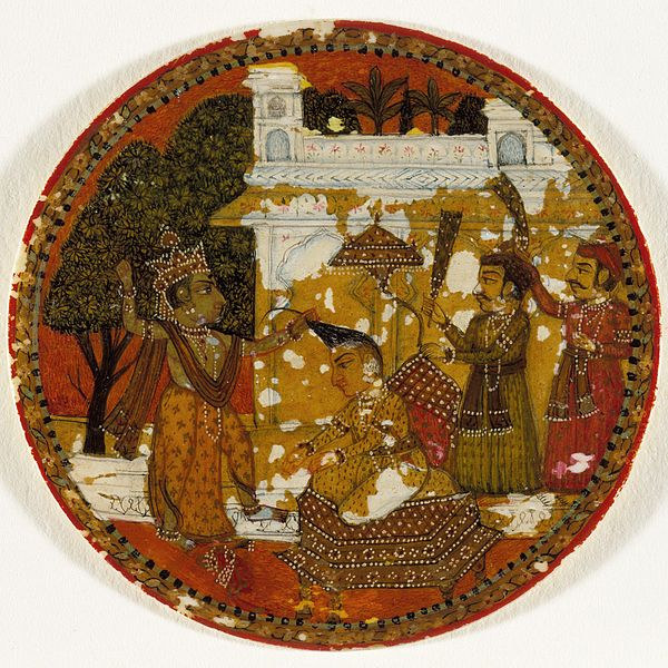 File:Krishna Preparing to Decapitate King Kamsa, King of the Krishna Suit, Playing Card from a Dashavatara (Ten Avatars) Ganjifa Set LACMA M.73.55.3.jpg