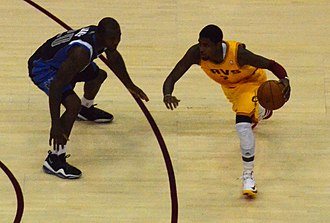 Dominique Jones - Jones (left) guarding Kyrie Irving in 2012