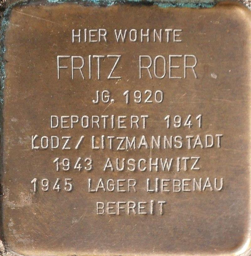 Stolperstein für Fritz Roer