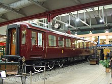 Shiny red railway carriage