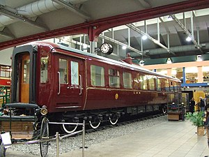 British Royal Train - The King's armoured saloon of 1941 built by the London, Midland and Scottish Railway (now with armour plating removed) in the Glasgow Transport Museum
